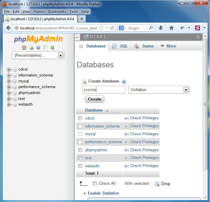 start mysql database