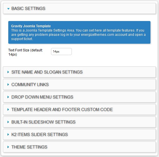 Joomla Template Control Panel Getting Started guide